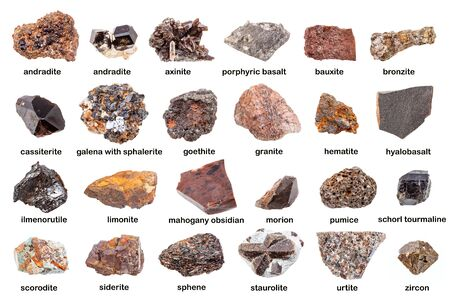Set of various brown unpolished minerals with names isolated on white
