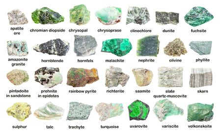 Set of various green unpolished stones with names isolated on white Banque d'images