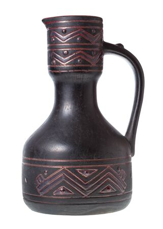 side view of typical georgian ceramic ewer made in the middle of 20th century isolated on white background Imagens