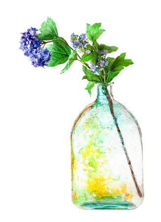 artificial hortensia flowers in handpainted glass flask isolated on white background
