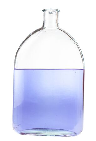 violet ink solution in water in glass flask isolated on white background