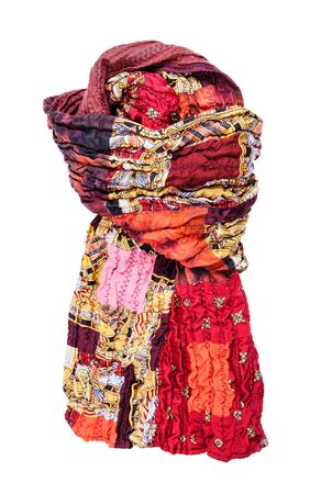 tied stitched red brown patchwork scarf isolated on white background 免版税图像