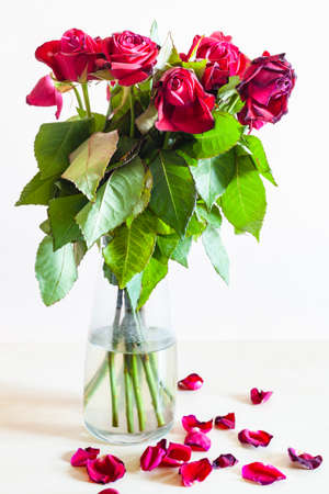 side view of bouquet of withered red rose flowers in glass vase and fallen petals on pale brown background