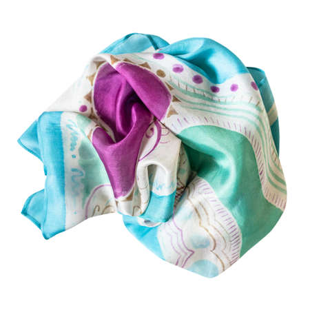 wrapped blue, green and purple handpainted silk scarf isolated on white background