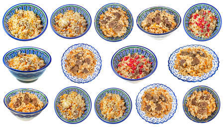 set of various cooked pilaf (central asian dish from rice with meat and vegetable) on local oriental bowl isolated on white background