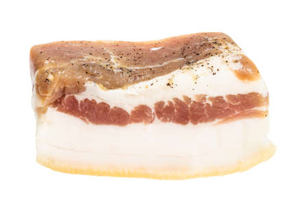 piece of barrel salted Salo (pork fatback) with meat layer isolated on white background