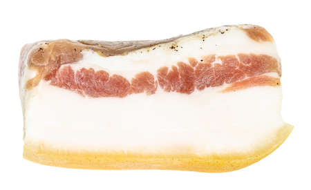 slice of barrel salted Salo (pork fatback) with meat layer isolated on white background