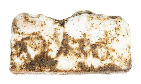 Salo (salted pork fatback) with black pepper isolated on white background