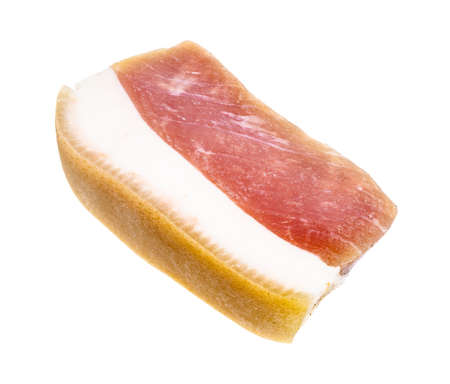 chunk of barrel salted Salo (pork fatback) with pork meat isolated on white background