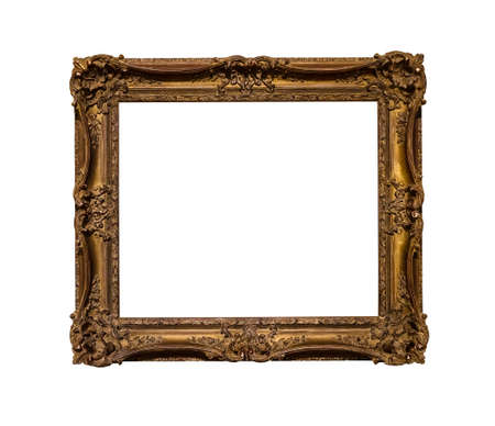 ancient dark ornamental picture frame with cut out canvas isolated on white background