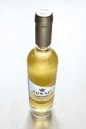 MOSCOW, RUSSIA - JUNE 10, 2021: closed bottle of hungarian sweet wine Tokaji from Tokaji Kereskedohaz winery. Tokaj is considered as hungarikum, that is, a unique product of Hungary