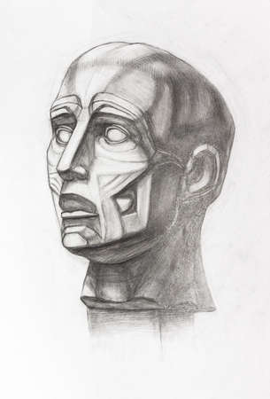 academic drawing - study of plaster cast of anatomical ecorche head hand-drawn by graphite pencil on white paper Banque d'images