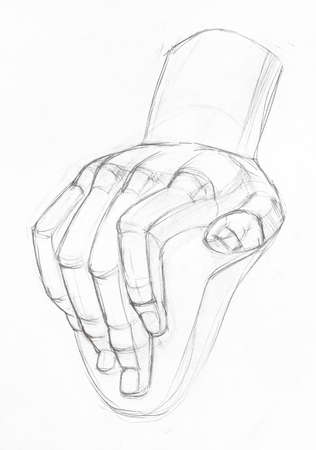 academic drawing - sketch of plaster cast of male hand hand-drawn by graphite pencil on white paper