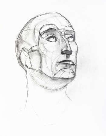academic drawing - sketch of plaster cast of Niccolo da Uzzano head hand-drawn by graphite pencil on white paper