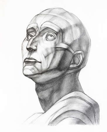 academic drawing - study of plaster cast of Niccolo da Uzzano head hand-drawn by graphite pencil on white paper