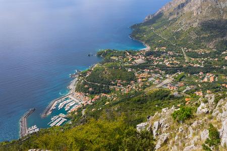 maratea:  Basilicata, Maratea, the Harbour and the Coastline in Italy   Stock Photo