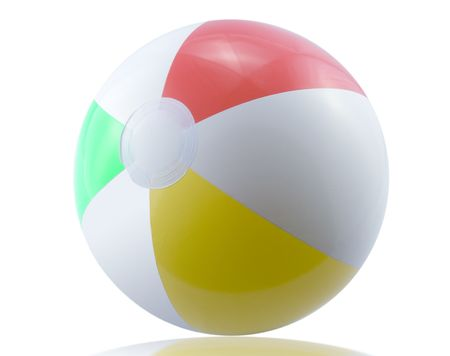 Beach ball (isolated on white with soft shadow + path) Stock Photo - 4152631