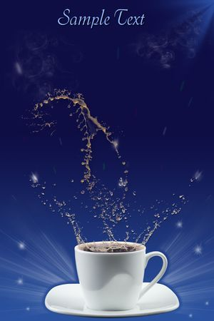 cofee cup: Splash in coffee cup Stock Photo