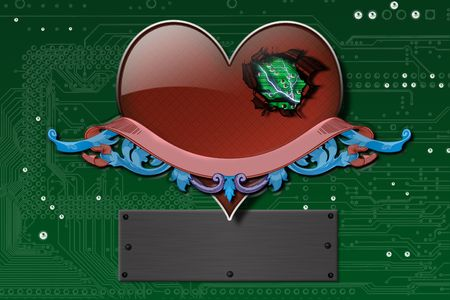 Electronic heart, background, wallpaper photo
