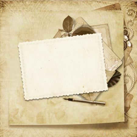 album page: Old card on charming victorian background Stock Photo