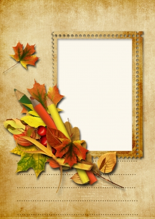 photoframe: Vintage background with stamp-frames and pencils Stock Photo