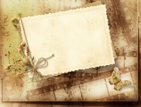 rustic: Vintage background with old card and film strip Stock Photo