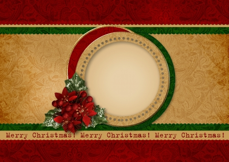 Vintage christmas card with frame photo