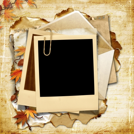old letters: Vintage background with photo frame and autumn leaves