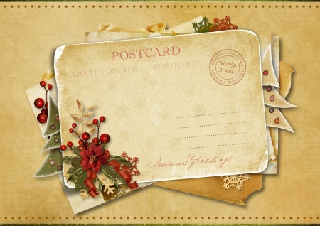joyeux: Christmas greeting postcard  Stock Photo