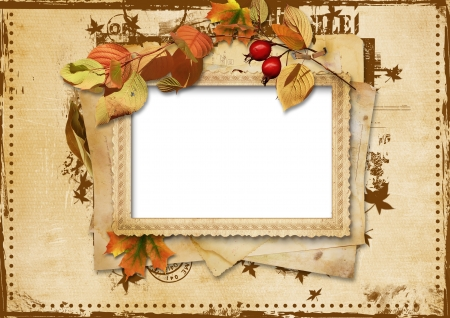 Vintage card with autumn leaves  photo