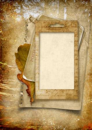 family history: Vintage background with old photo frame