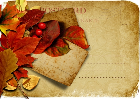 family history: Vintage postcard with autumn leaves