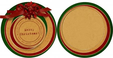 Vintage Christmas card.circle template  photo