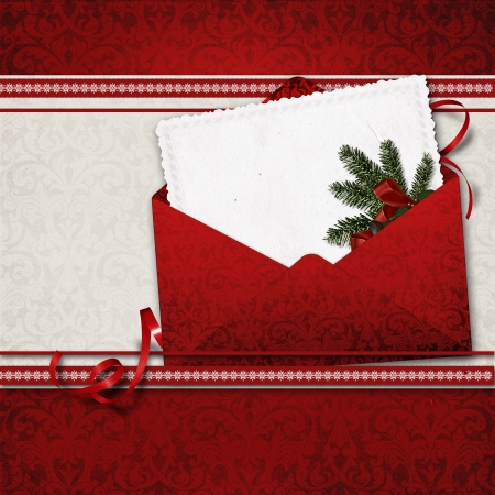 old envelope: Christmas greeting card  Stock Photo