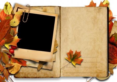 photoframe: Vintage book with polaroid frame, autumn.  Stock Photo