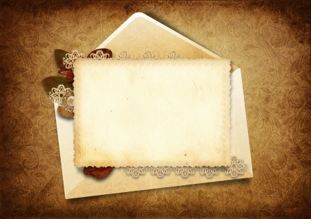 Victorian background with elegant postcard  Stock Photo