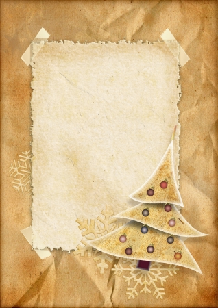 Vintage Christmas paper card  Stock Photo