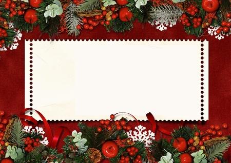 flor de pascua: Vintage Tarjeta de Navidad con espacio para texto o foto