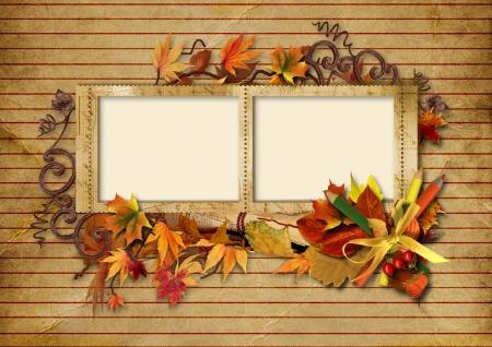 photoframe:  Vintage photo frame with autumn leaves and pencils  Vintage photo frame with autumn leaves and pencils  Stock Photo