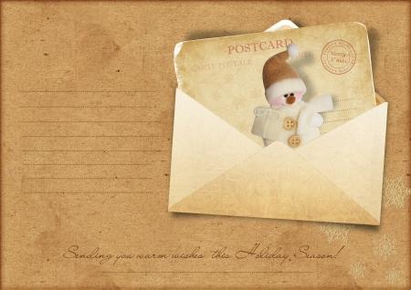 old envelope: Vintage Christmas greeting card with envelope