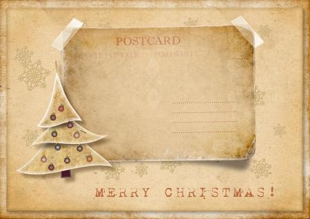 christmas fur tree: Vintage Christmas card