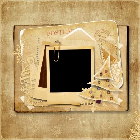 ポラロイド フレームとビンテージのクリスマス カード 写真素材
