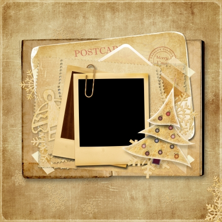 polaroid frame: Vintage Christmas card with polaroid frame