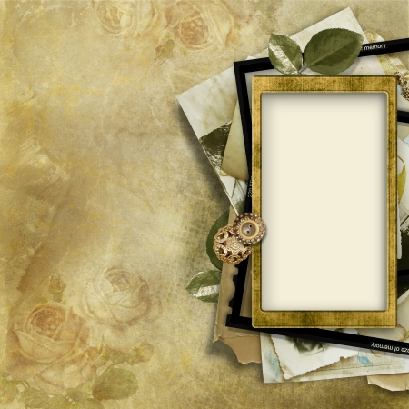Vintage background with card for congratulations and invitations  Page  of the old family photo-album photo