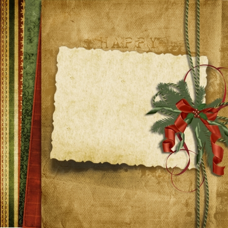 Vintage Christmas background with old card  Stock Photo