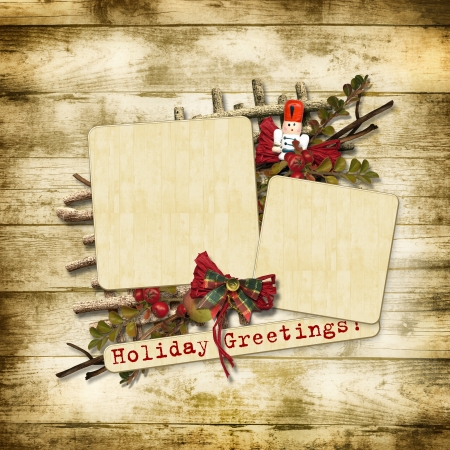 Christmas greeting card with nutcracker  photo