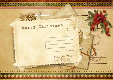 victorian christmas: Gorgeous Vintage Christmas card Stock Photo