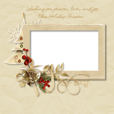 vintage photo border: Vintage Christmas frame with the wishes  Stock Photo