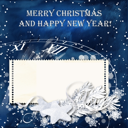christmas tide: Retro  Christmas snow background with stamp-frames for congratulations and invitations