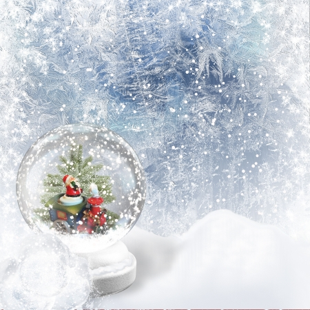 yule tide: Christmas Snow globe on the frost background